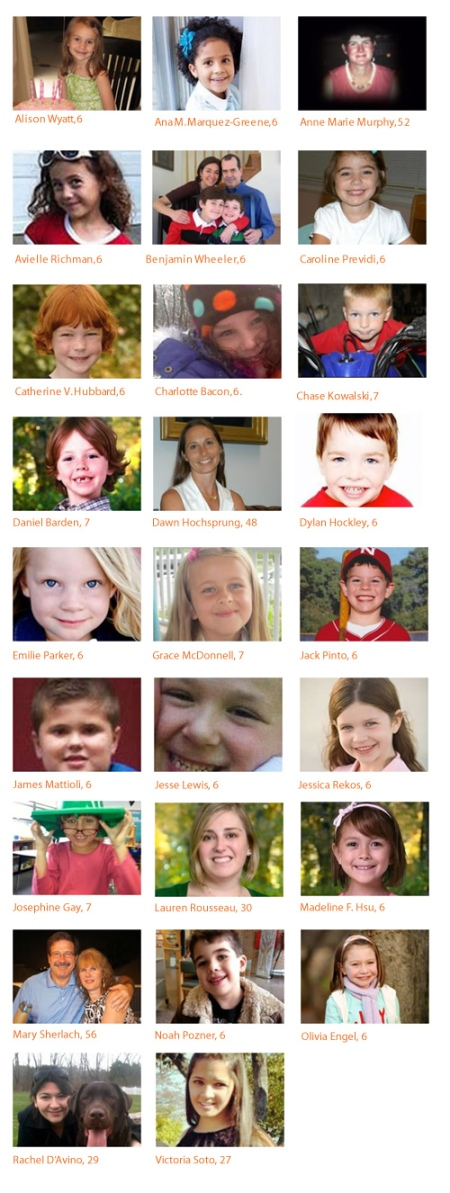The students and teachers of Sandy Hook elementary, Newtown CT